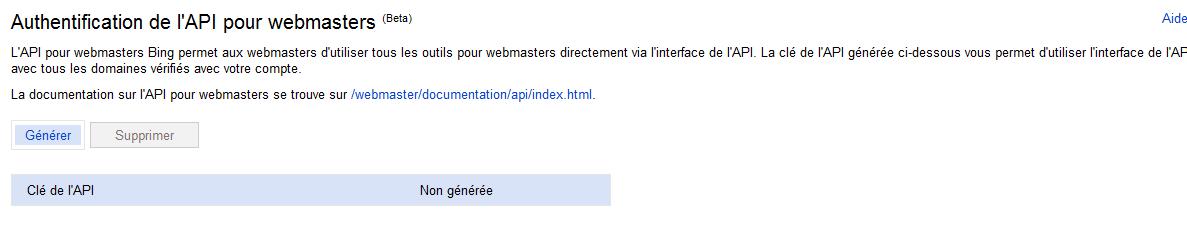 Microsoft Bing - API pour webmasters