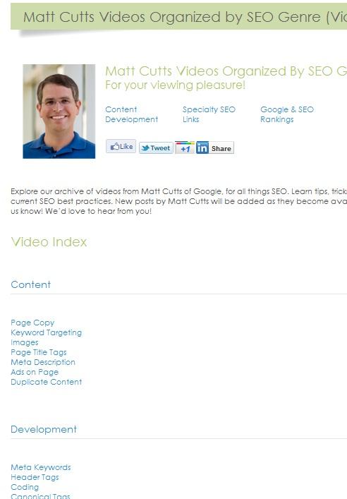 seohouse.com et sa page d'accueil des contenus de Matt Cutts